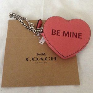 COACH Be Mine Heart Coin Case Bright Coral/Silver